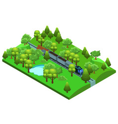isometric freight train template vector image