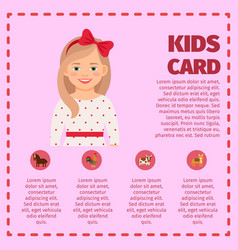 Kids card infographic with cute girl vector