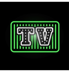 Light neon tv label vector image