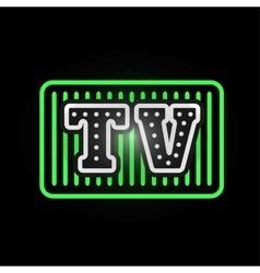 Light neon tv label vector