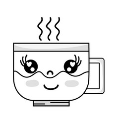 Line kawaii cute happy coffee cup vector