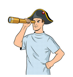 Mentally ill man as pirate napoleon pop art vector