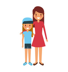 mom embracing with her daughter standing vector image
