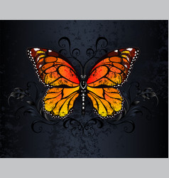 Monarch butterfly on gothic background vector