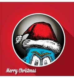 Monster face character in santa red hat vector