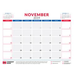 november 2019 calendar planner stationery design vector image