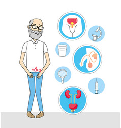 Old man with renal infection diagnosis vector