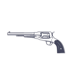 Old revolver six-shot handgun vector
