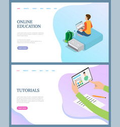 online education person tutorials web vector image