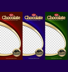 Packaging set chocolate bar vector