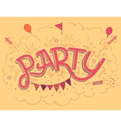 Party hand-lettering invitation card vector