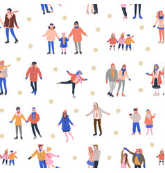 Pattern with skating people and golden snowflakes vector