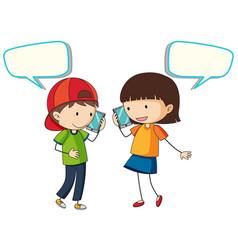 people talkig on phone vector image