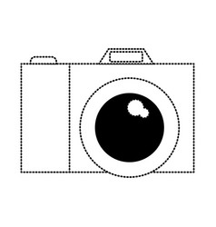 photo camera icon in black dotted contour vector image
