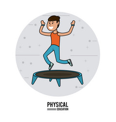 Physical education - boy practice jumping vector