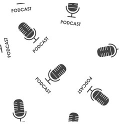 Podcast icon seamless pattern on a white vector