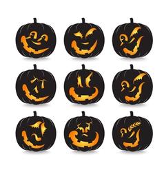 pumpkin faces vector image