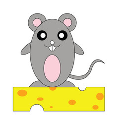 Rat on cheese vector