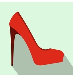 Red high heel women shoe icon flat style vector