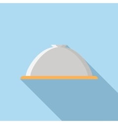 Restaurant cloche icon in flat style vector image