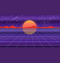 retro violet background 1980s style vector image