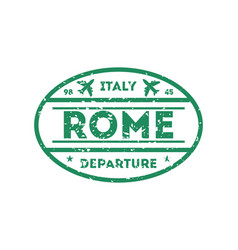 rome city visa stamp on passport vector image