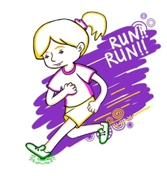 Run girl color vector image