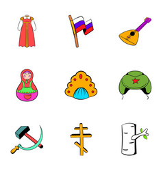 Russian symbol icons set cartoon style vector