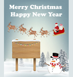 santa claus reindeer and snowman in winter forest vector image
