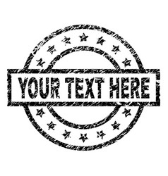 Scratched textured your text here stamp seal vector