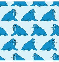 Seamless pattern from cartoon walruses vector