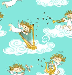 Seamless pattern of band of angels vector image