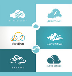 set of cloud logo vector image