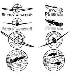 set of vintage labels retro aviaton vector image