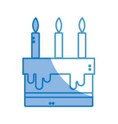 Silhouette tasty cake with candle to party vector