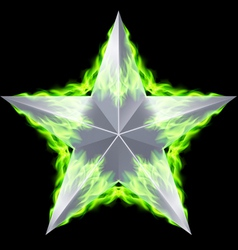 Silver star aflame vector image