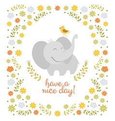 Smiling elephant on floral background vector
