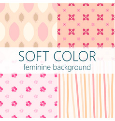 soft color feminine abstract seamless pattern set vector image