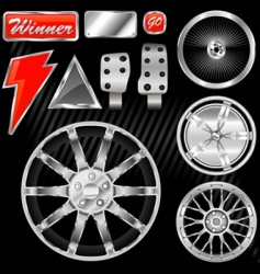 Sport car equipments vector