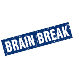 Square grunge blue brain break stamp vector