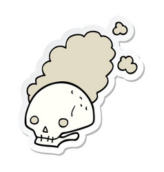 Sticker of a cartoon dusty old skull vector