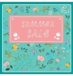 Summer sale vintage floral card vector
