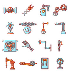 technical mechanisms icons set cartoon style vector image
