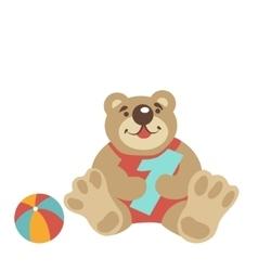 Teddy bear sitting with numeral one ball vector