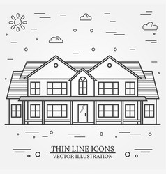 thin line icon suburban american house for vector image