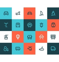 Transportation icons Flat style vector