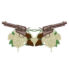 Two big old revolvers white roses and barbed wire vector