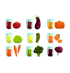 vegetable juices set carrot broccoli eggplant vector image