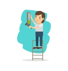 Woman make repairs in the apartment vector
