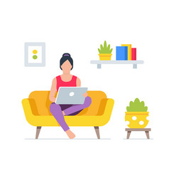 working at home womans vector image